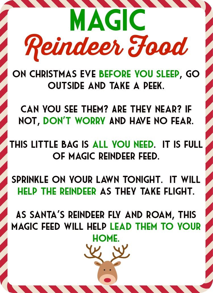 Magic reindeer food the mama life magic reindeer food printout free printable ingredients forumfinder Gallery
